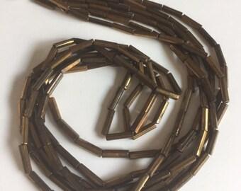 Vintage European Glass Bugle Beads -  BRONZE