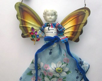 Handmade Christmas Ornament Frozen Charlotte Porcelain Angel Ornament Doll Folk Art