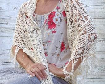 Large crochet lace shawl ivory cream summer crochet wrap gift for her crochet wrap festivals beach cover up fringe lace shawl boho bohemian