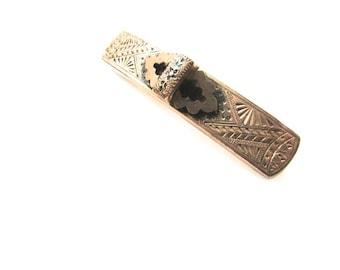 Victorian Taille d'Epargne Bar Pin Gold Filled Brooch Chased d'epergne Edwardian GF Black Enamel