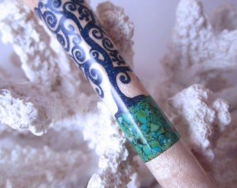 "The ""Princess Eve"" Tree of Life Hair Stick Featuring Birdseye Maple inlaid with Green Turquoise and Lapis"