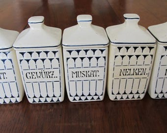 Antique German Kitchen Canisters