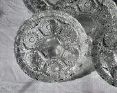 Set of 6 Clear Pressed Glass Individual Ashtrays, Diamond Cut Stamped Italy, Cigarette Tobacciana Coasters or Trinket Dish Sawtooth Rim