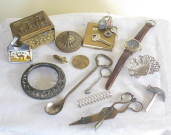 Vintage Steampunk Salvaged Lot, Assorted Mixed Supply Collection for Crafts Art Supplies Destash
