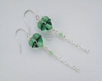 Green heart earrings, soft green earrings, sterling silver heart earrings, green and black earrings, aqua heart earrings long heart earrings
