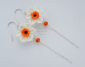 Narcissus earrings, daffodil earrings, white daffodil earrings, orange and white flowers, spring earrings, spring flowers, long earrings