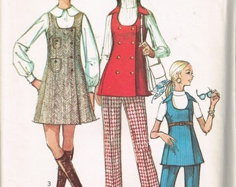 70s Mini Jumper or Tunic and Pants Simplicity 8916 Bust 34 Mod Mini Length Jumper Low Necked Tunic Vintage 1970 Sewing Pattern