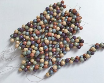 Five Color Opaque Picasso Luster 6mm Mushroom Bead Mix, 40 Beads Per Strand, Opaque Picasso Beige, Green, Blue Purple And Red