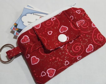 Zipper Wallet Pouch Key Chain Card holder - Valentine Red and Pink Hearts