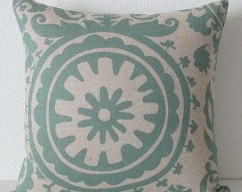 Pillow cover - Green - Natural - Suzani - Retro - Tribal - Decorative - Cushion cover