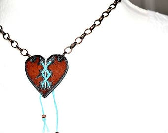 Rusty Lace Up Heart Necklace