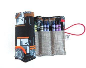 Crayon Roll - Tractor -24 crayons, tractor crayon holder, kids coloring, farm party favor, boy gift, stocking stuffer