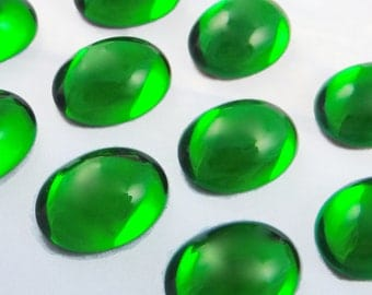 Vintage Glass Cabochons 6 pcs 18x13 mm Dark Green Stones S-383
