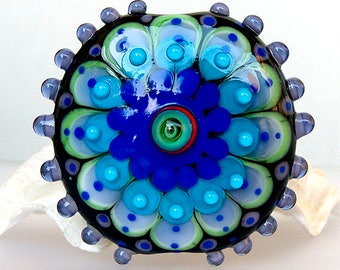 Hiding Peacock- Mandala Art Glass - Lampwork - Focal Bead - Unique, Statement Designs by Michou P. Anderson (Label Sonic & Yoko )