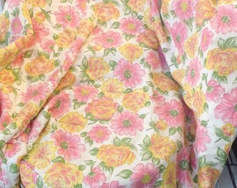 Vintage Pink and yellow floral flowers quilted comforter coverlet duvet bedspread