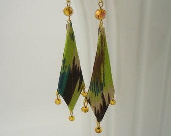 Textile Dangle Earrings, Fiber Art Jewelry, Painterly style ear wires