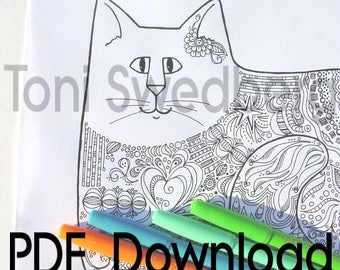 Cat Doodle To Color - One Coloring Page - PDF Download - Hand Drawn Image
