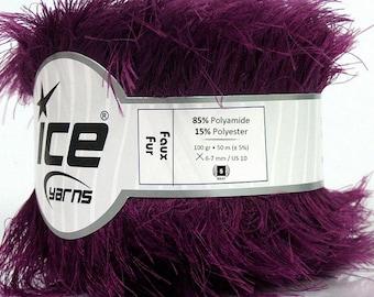 ICE YARNS Faux Fur dark purple 100gr 54yrds eyelash type yarn knitting crochet polyamide polyester bulky chunky 36778