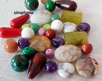 Assorted Gemstone Beads 30 Pcs Amethyst Agate Jasper Howlite Teardrop Coin Round Rectangle