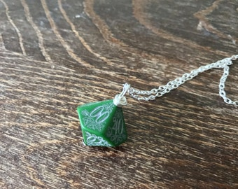 D100 dice necklace forest dice pendant dungeons and dragons geek geekery green black dice pendant pathfinder jewelry D20 girl