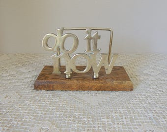 "Brass on Walnut Wood ""Do It Now"" Letter Holder. Wooden ""Do It Now"" Organizer. Office, Desk, Library Note Keeper. Made in Taiwan"