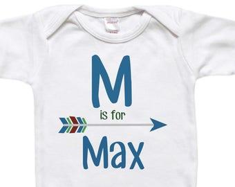 Unique Baby Gift - Baby Bodysuit Shirt - Newborn Gift - Baby Shower Gift - Baby's Name Initial Arrow