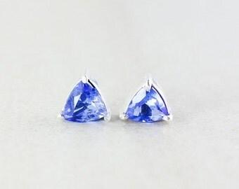 CHRISTMAS SALE Royal Blue Quartz Studs - Triangular Cut - Silver Fill
