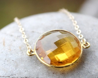 CHRISTMAS SALE Gold Yellow Citrine Quartz Gemstone Necklace - Birthstone Necklace - 14KT Gold Fill