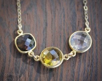 CHRISTMAS SALE Triple Gemstone Necklace - Smokey Quartz, Citrine, Crystal - 14K Gold Fill
