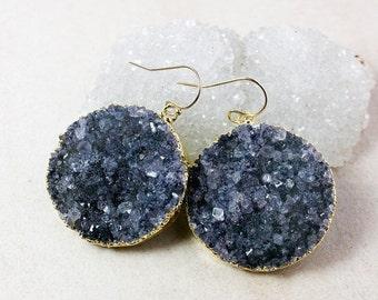 50 OFF SALE Black Druzy Statement Earrings – 14K Gold Filled