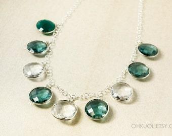 Silver Crystal Quartz & Teal Green Quartz Bib Necklace - Crystal Bib Necklace - 925 Silver