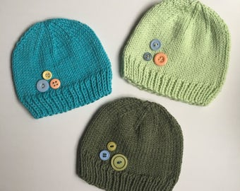 Knit Hat - NEWBORN 0-3 months - CHOOSE ONE - Baby Boys with Buttons - Ready to Ship
