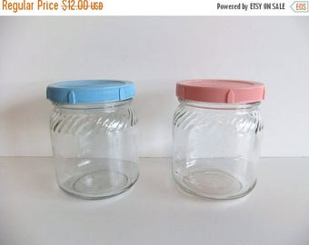 50% off Sale ON SALE Vintage Glass Jars Pink and Blue Covers