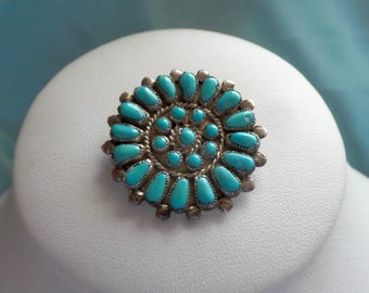 Vintage Zuni Sterling Silver 925 Vintage Brooch Pin Necklace Pendant 7.2 Grams Turquoise Unsigned