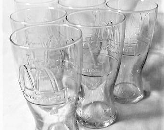 Set of 6 McDonald's Promotional Glassware 1992, 6 Tumbler Glasses, Clear Glass McDonald's From 1992, 1/2 Dozen Glass Tumblers, Glassware