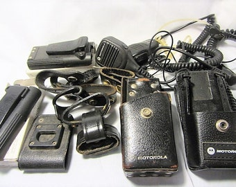 Vintage Assorted Police Radio Parts and Pieces, Large Lot Police Items, Batteries, Speakers, Holsters, Leather Snap Stips, Huge Assortment