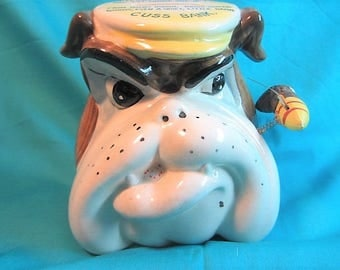 Bull Dog Cuss Bank by Dabs - Made in Japan - 1950's, Orginial Cuss Jar, Bull Dog Teaches Not To Cuss When You Pay Everytime You Do
