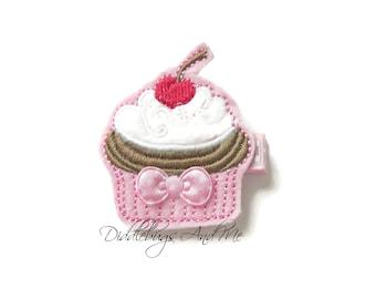 Cupcake Hair Clip, Birthday Hair Clip, Girls Cupcake Hair Clip, Food Hair Clip, Cupcake With Cherry Hair Clip, Party Favors, Toddler Clips