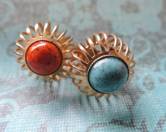 turquoise statement ring 70s gold cage ring costume chunky boho jewelry vintage jewelry