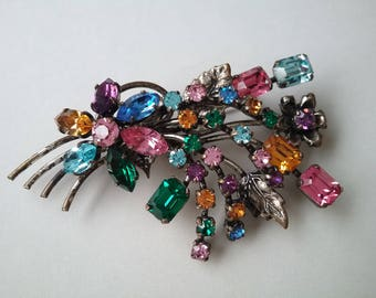Made In Austria Crystal Flower Spray Brooch Pin Multicolored Free Shipping To The Usa and Canada