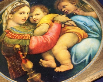 Church Religious Picture Print Rafael Madonna and Child on Decorated Gilt Wood