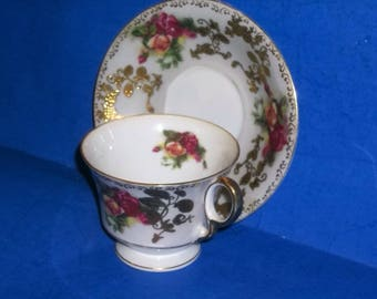 Royal Sealy Japanese Porcelain Hand Painted Tea Cup and Saucer with Gold Gilt / Roses