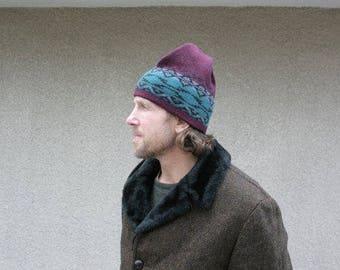 Vintage Mens Winter Ski Hat Wool Ecospun Tribal Geometric Cranberry Black Gray Teal Warm