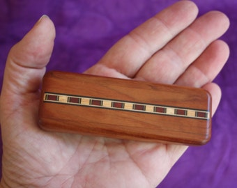 Vintage Secret Box Wood With Wood Inlay Sliding Lid Stash Chamber