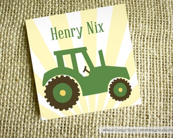 Personalized Tractor Calling Cards, Little Boy Tractor Gift Tags, Custom Gift Tags for Kids, personalized gift, Big Green Tractor cards