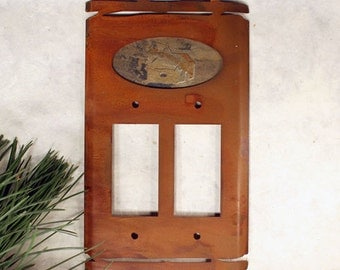 Natrual Stone & Patina Metal Switch Plate Covers - Cabin