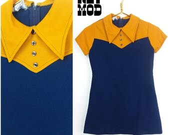 JUNIOR SIZE - Fun Retro Vintage 60s 70s Navy Blue and Mustard Yellow Polywogs Junior Dress!