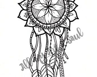 Adult Coloring Page - Sunflower Dreamcatcher - Instant Download - Zentangle - Doodle - DailyDoodler - Dreamcatcher Coloring Page