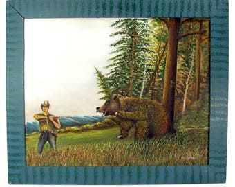 Vintage BEAR HUNTING Folk Art Painting Hunter Signed P. Cleemput Wood Frame