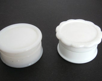 Two (2) Vintage Milk Glass Jars with Lids